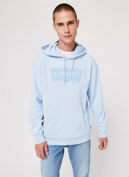 Vêtements Levi's Graphic Po Hoodie Logo M Bleu vue droite