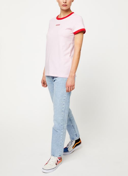 Vêtements Levi's Perfect Ringer Tee W Rose vue bas / vue portée sac