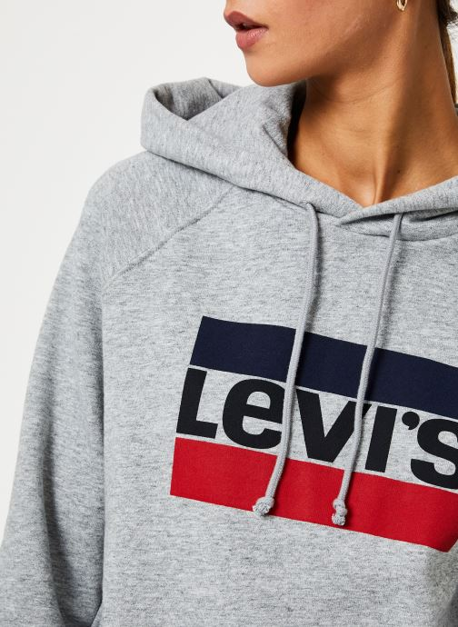 Vêtements Levi's Graphic Sport Hoodie Logo W Gris vue face