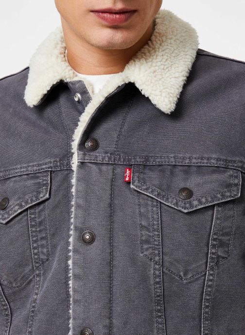 Vêtements Levi's Type 3 Sherpa Trucker M Gris vue face