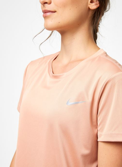 Vêtements Nike Haut de running Femme Nike Dry Miler manches courtes Rose vue face