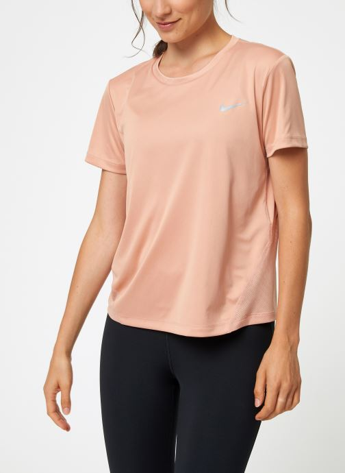 Vêtements Nike Haut de running Femme Nike Dry Miler manches courtes Rose vue droite