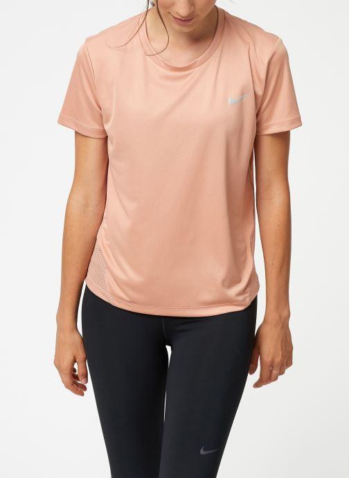 Vêtements Nike Haut de running Femme Nike Dry Miler manches courtes Rose vue détail/paire
