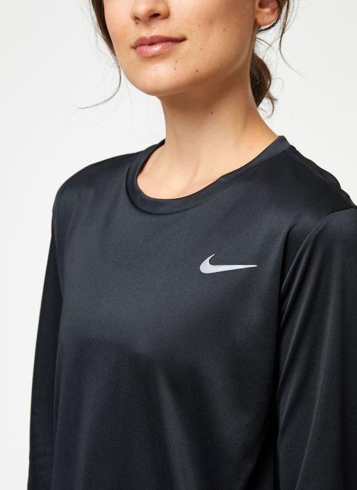 Vêtements Nike Haut de running Femme Nike Dry Miler manches longues Noir vue face