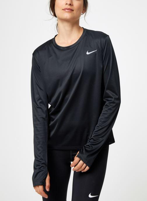 Vêtements Nike Haut de running Femme Nike Dry Miler manches longues Noir vue droite