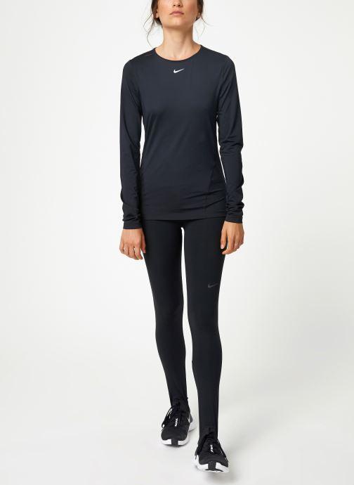 Vêtements Nike Haut de training femme Nike Pro mesh manches longues Noir vue bas / vue portée sac