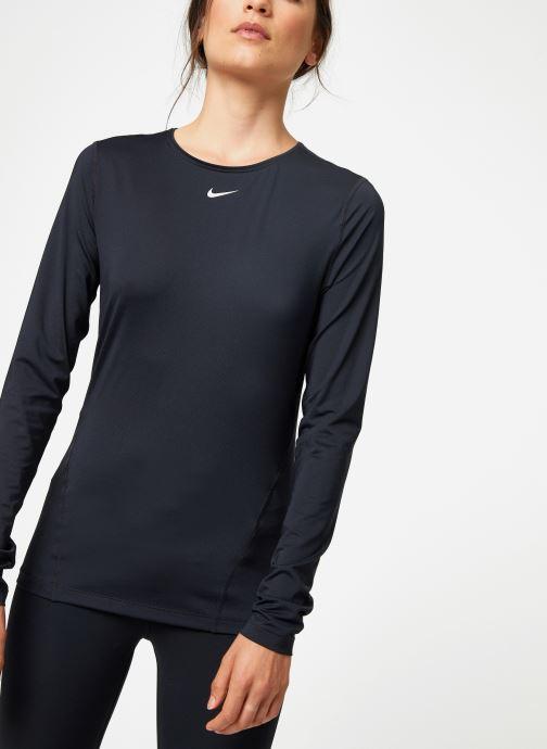 Vêtements Nike Haut de training femme Nike Pro mesh manches longues Noir vue détail/paire