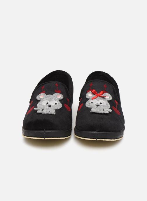 Chaussons La maison de l'espadrille Solange Noir vue portées chaussures