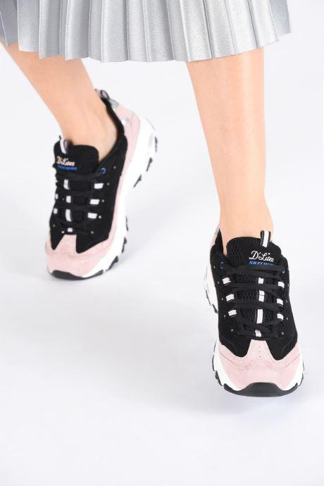 Sneaker Skechers D'Lites Moon View schwarz ansicht von unten / tasche getragen