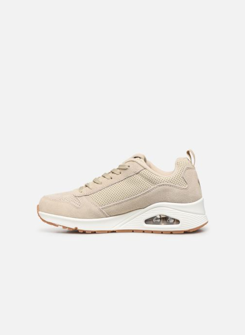Baskets Skechers Uno Two For The Show Beige vue face