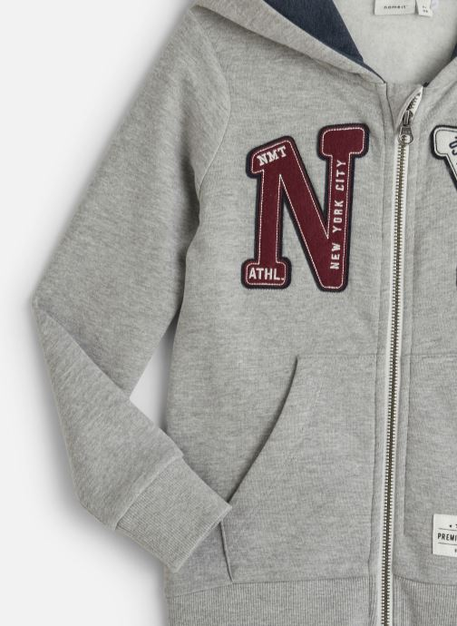 Vêtements Name it Sweatshirt Hoodie Nkmnelisha Sweat Card W Hood Bru Gris vue portées chaussures