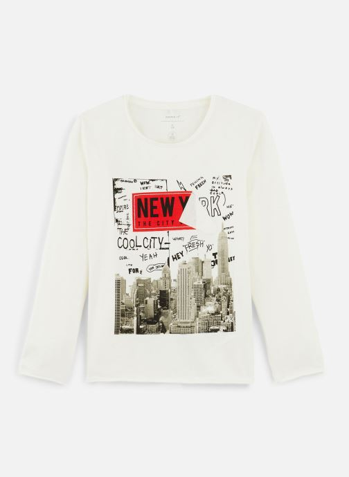 Vêtements Name it T-Shirt Nmmkiddo Ls Top Blanc vue détail/paire