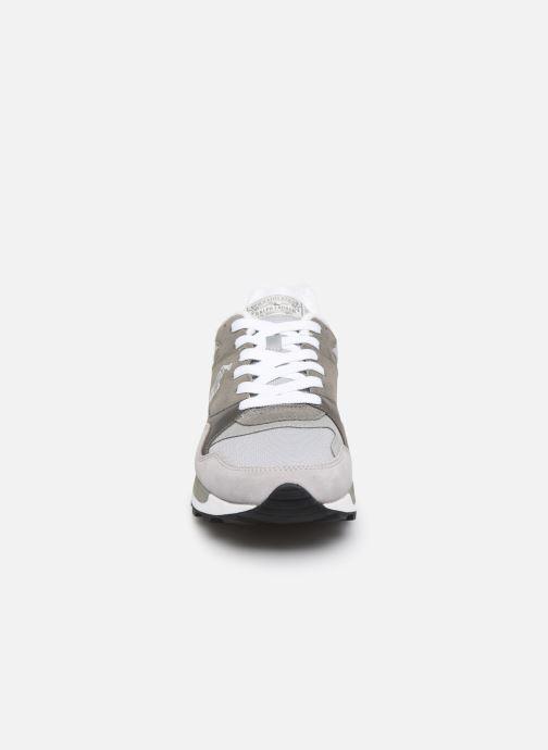 Sneakers Polo Ralph Lauren Trackstr 100- Suede/ Mesh Grigio modello indossato