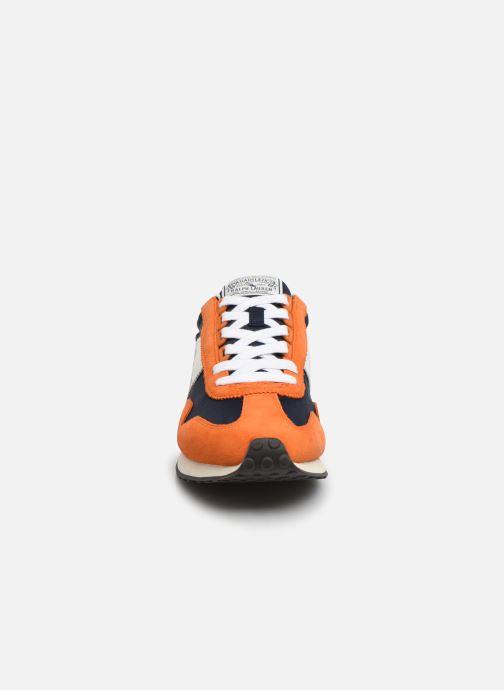 Baskets Polo Ralph Lauren Train 90-PP/ Suede Orange vue portées chaussures