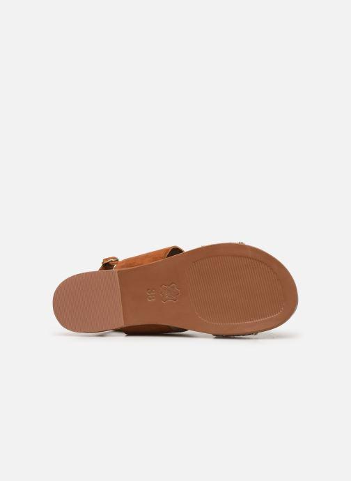 Sandales et nu-pieds Les Tropéziennes par M Belarbi Gyma Marron vue haut