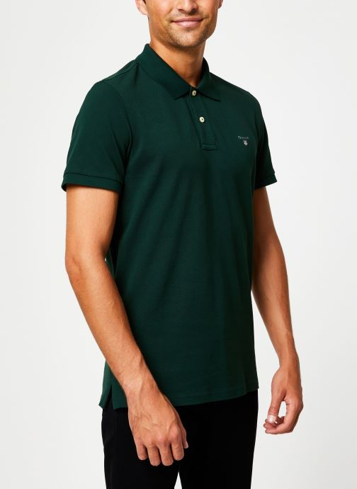 Vêtements GANT The Original Pique Ss Rugger Vert vue droite