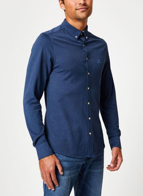 Vêtements Gant Tp Pique Solid Slim Bd Bleu vue droite