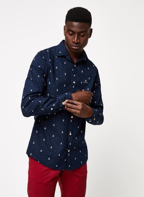 Vêtements Gant Anchor Print Slim Bd Bleu vue détail/paire