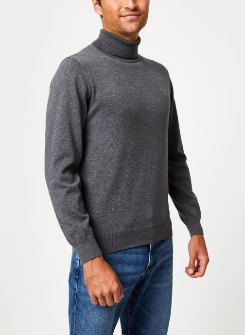 Vêtements Gant Light Weight Cotton Turtle Neck Gris vue détail/paire