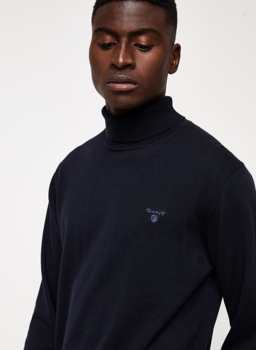 Vêtements Gant Light Weight Cotton Turtle Neck Bleu vue face