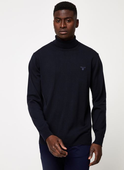 Vêtements Gant Light Weight Cotton Turtle Neck Bleu vue détail/paire