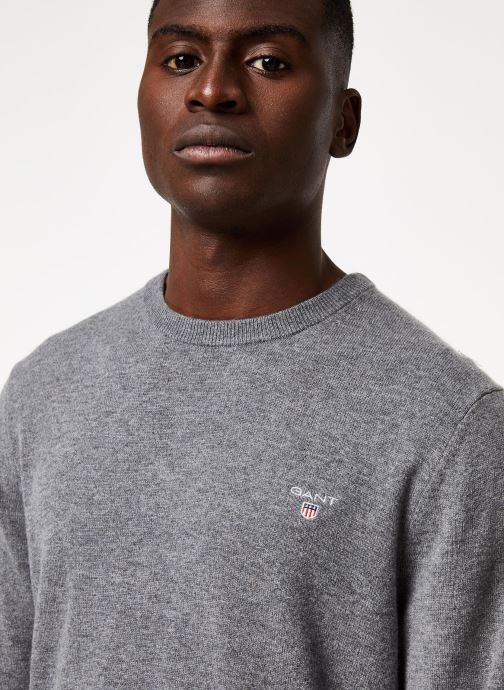 Vêtements GANT Superfine Lambswool Crew Gris vue face