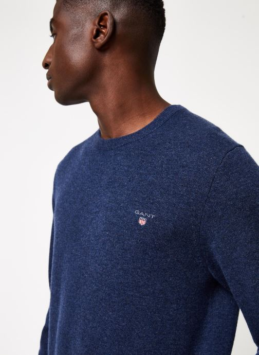 Vêtements Gant Superfine Lambswool Crew Bleu vue face