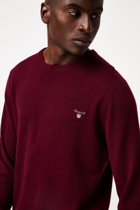 Vêtements Gant Superfine Lambswool Crew Bordeaux vue face