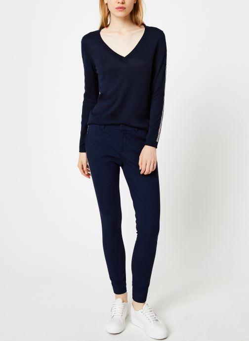 Vêtements I.Code Pull Bandes Couleur QP18124 Bleu vue bas / vue portée sac