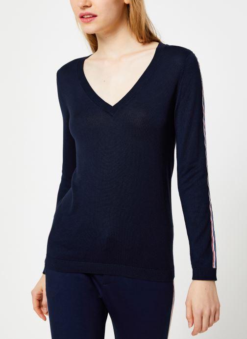 Vêtements I.Code Pull Bandes Couleur QP18124 Bleu vue droite