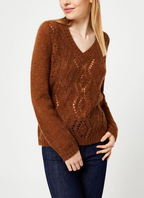 Vêtements I.Code Pull Fauve Camel Manches Ballon QP18204 Marron vue détail/paire