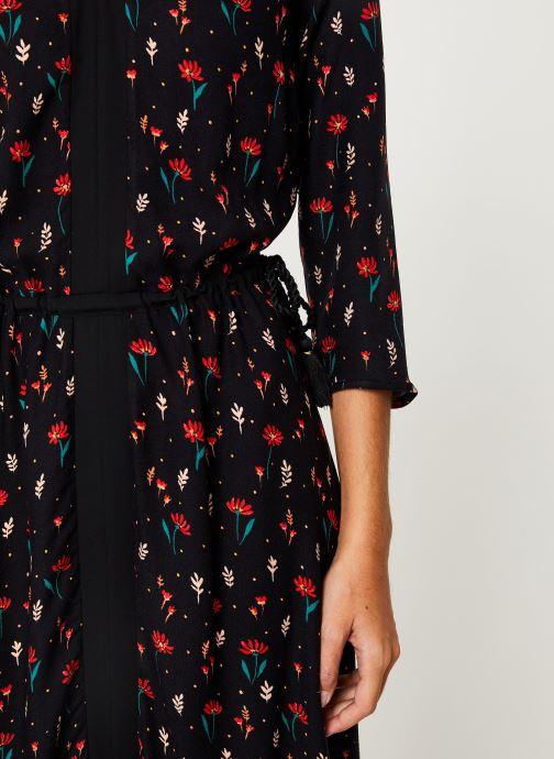 Vêtements I.Code Robe Fleurie Lien Taille QP30304 Noir vue face