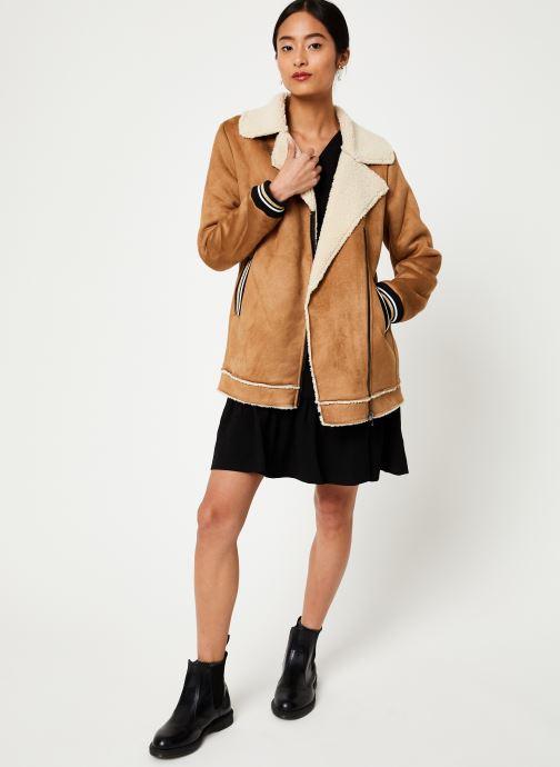 Vêtements I.Code Manteau Peau Lainée QP44084 Marron vue bas / vue portée sac