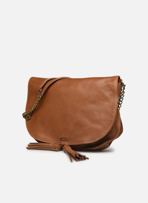 Handbags IKKS Women Sac cuir Plum Camel BL95099 Brown model view