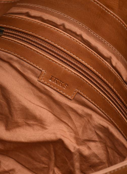 Handbags IKKS Women Sac cuir Plum Camel BL95099 Brown back view