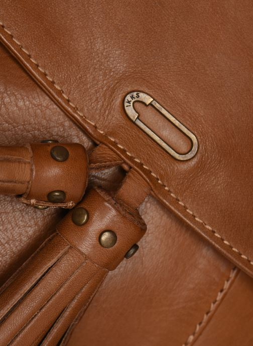 Handbags IKKS Women Sac cuir Plum Camel BL95099 Brown view from the left