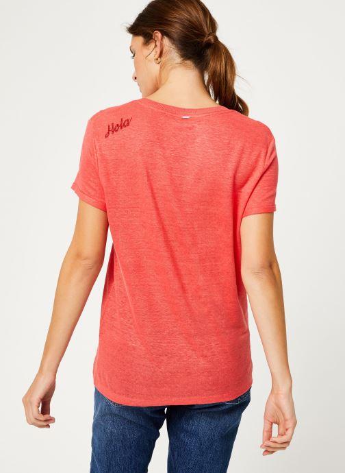 Vêtements IKKS Women Tee-Shirt Fraise Lin BP10075 Rouge vue portées chaussures