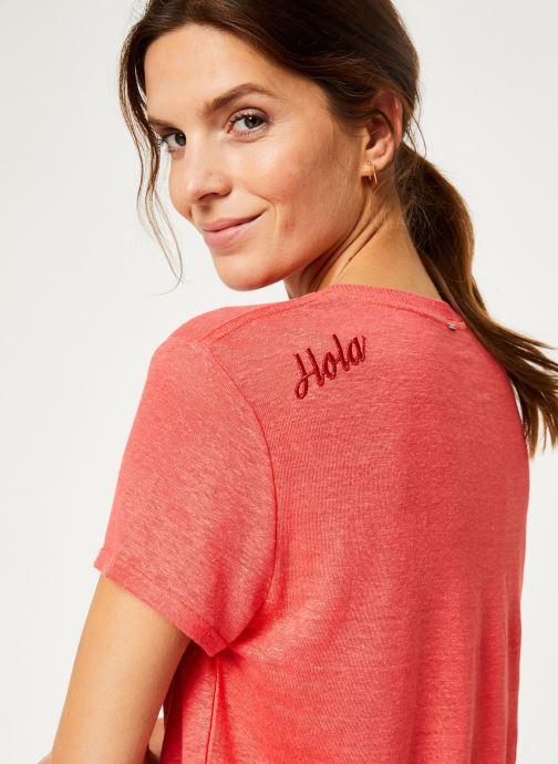 Vêtements IKKS Women Tee-Shirt Fraise Lin BP10075 Rouge vue face