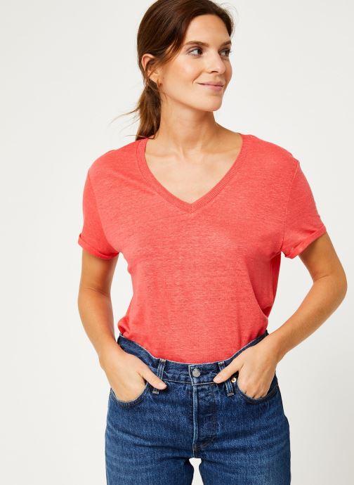 Vêtements IKKS Women Tee-Shirt Fraise Lin BP10075 Rouge vue détail/paire