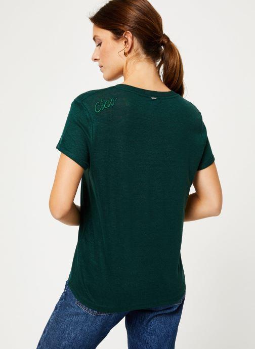 Vêtements IKKS Women Tee-Shirt Lin Cyprès BP10075 Vert vue portées chaussures