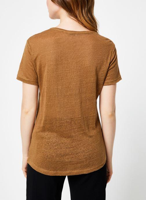 Vêtements IKKS Women Tee-Shirt Camel Paris BP10155 Marron vue portées chaussures