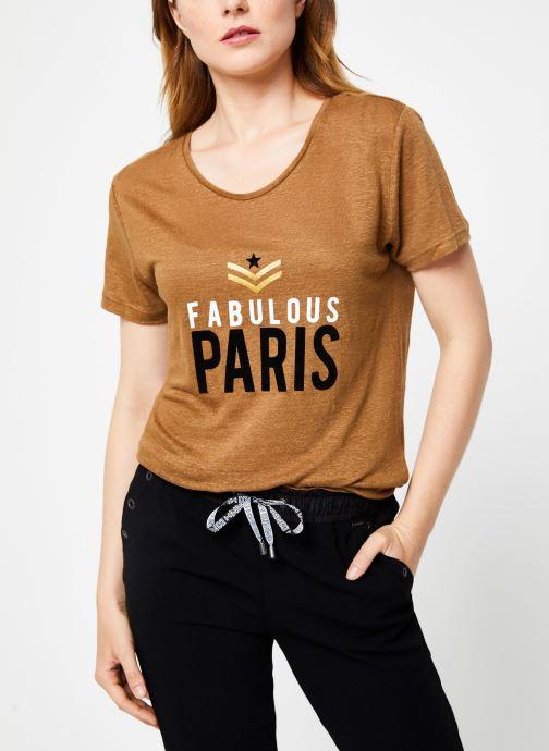 Vêtements IKKS Women Tee-Shirt Camel Paris BP10155 Marron vue détail/paire