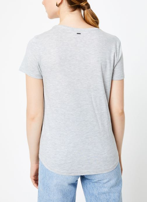 Vêtements IKKS Women Tee-Shirt Love BP10515 Gris vue portées chaussures