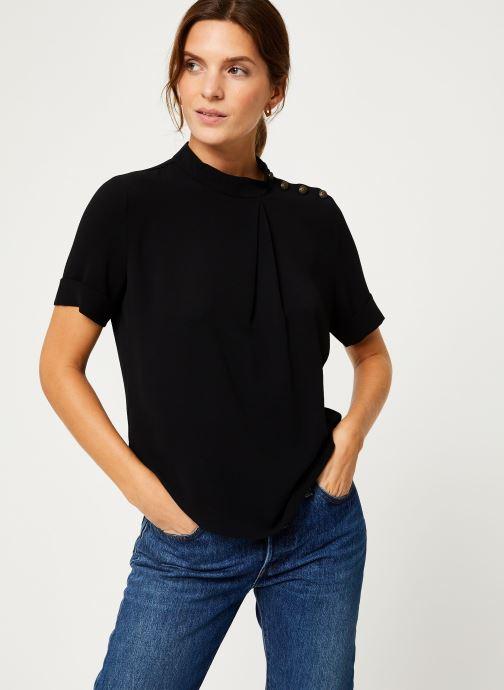 Vêtements IKKS Women Top Noir Boutons Épaules BP11085 Noir vue droite