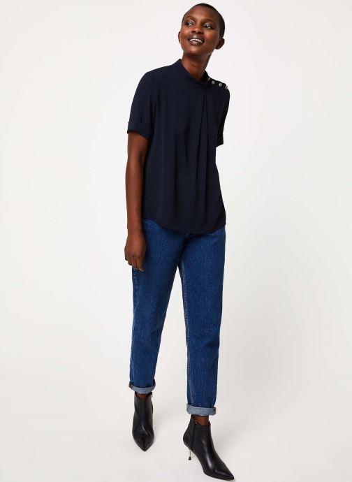Vêtements IKKS Women Top Marine Boutons Épaules BP11085 Bleu vue bas / vue portée sac