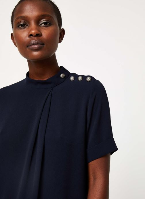 Vêtements IKKS Women Top Marine Boutons Épaules BP11085 Bleu vue face