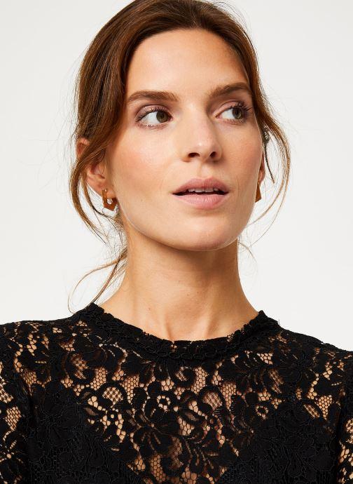 Vêtements IKKS Women Blouse Noire Dentelle BP13305 Noir vue face