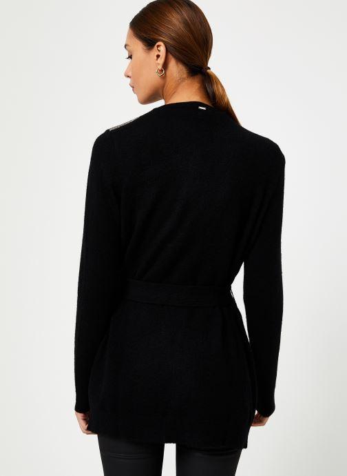 Vêtements IKKS Women Cardigan Noir Long Ceinture BP17125 Noir vue portées chaussures