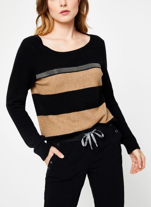 Vêtements IKKS Women Pull Rayé Camel BP18105 Marron vue détail/paire