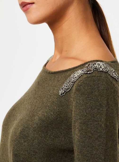 Vêtements IKKS Women Pull Bijou Kaki BP18155 Vert vue face